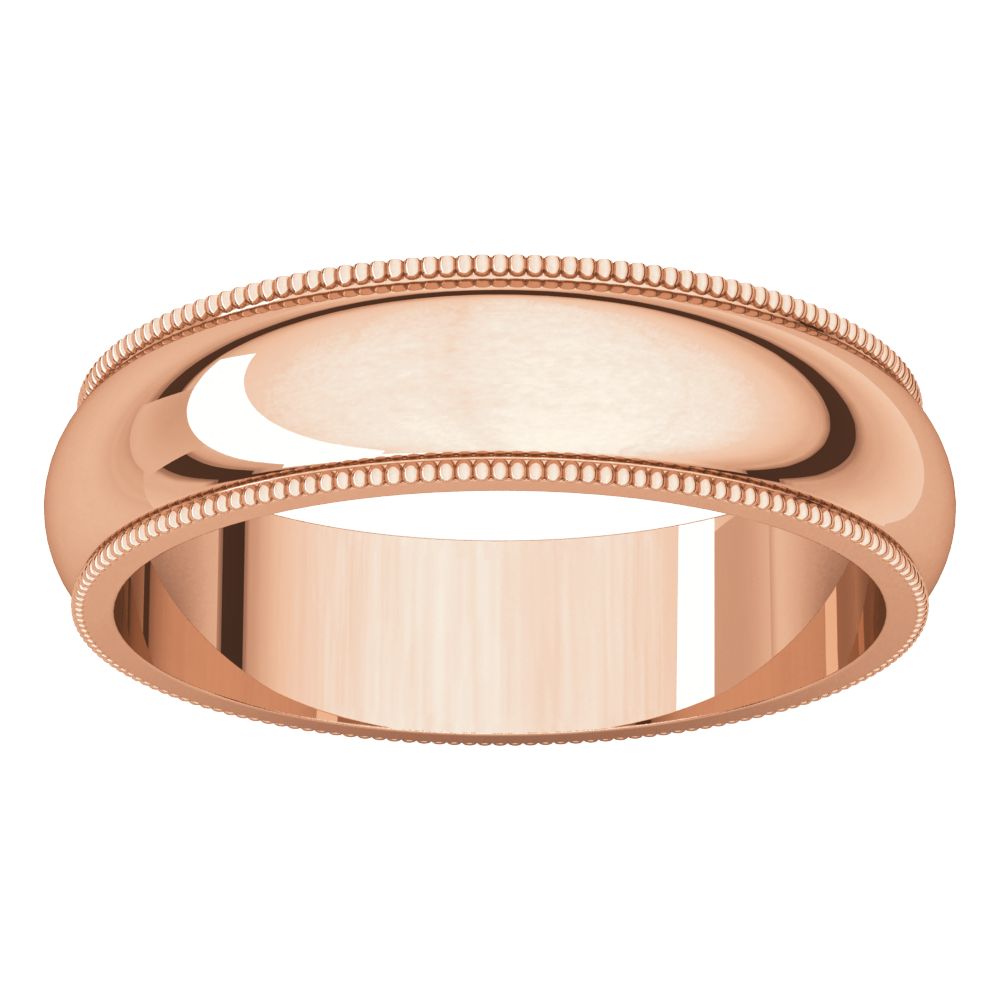 10K Rose 5mm Milgrain Wedding Band