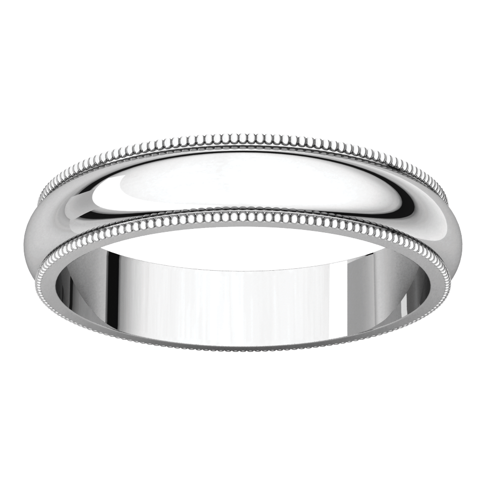 18K White 4mm Milgrain Band