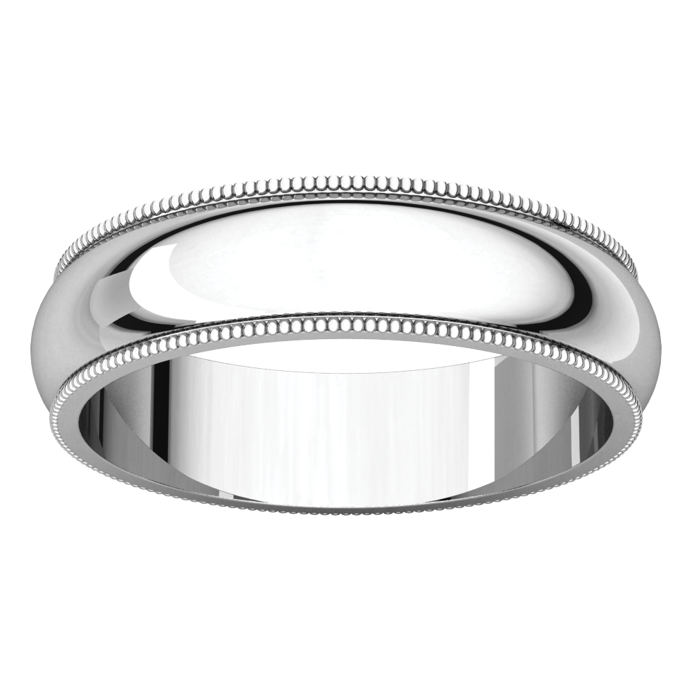 10K White 5mm Milgrain Band